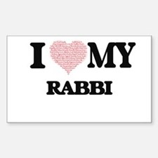 I love my Rabbi (Heart Made from Words) Decal
