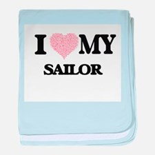 I love my Sailor (Heart Made from Wor baby blanket