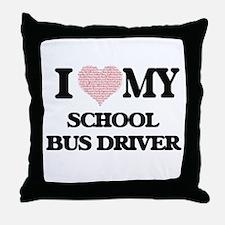 I love my School Bus Driver (Heart Ma Throw Pillow
