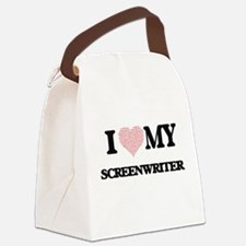 I love my Screenwriter (Heart Mad Canvas Lunch Bag