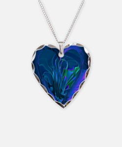 Blue Abstract Heart Necklace