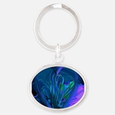 Blue Abstract Heart Oval Keychain