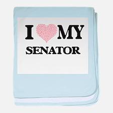 I love my Senator (Heart Made from Wo baby blanket