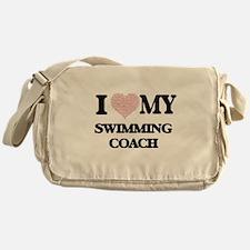 I love my Swimming Coach (Heart Made Messenger Bag