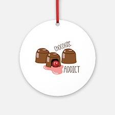Chocolate Addict Round Ornament