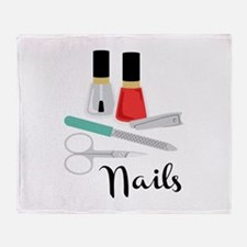 Manicure Nails Throw Blanket