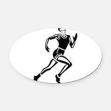 Runner Oval Car Magnet