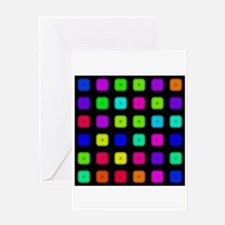 Neon Rainbow Buttons Greeting Cards