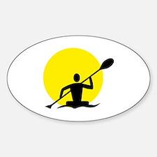 Cute Kayaking Sticker (Oval)