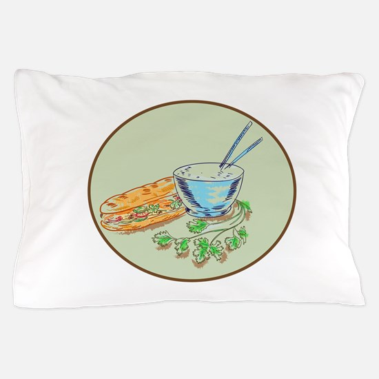 Bánh Mì Sandwich and Rice Bowl Drawing Pillow Case