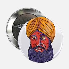 "Sikh Turban Beard Watercolor 2.25"" Button (10 pack"