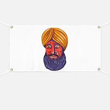 Sikh Turban Beard Watercolor Banner