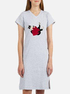 Black White Cat Heart Women's Nightshirt