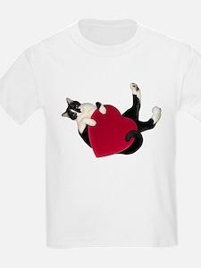 Black White Cat Heart T-Shirt