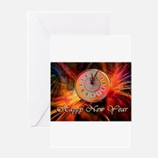 Happy New Year Clock Greeting Cards