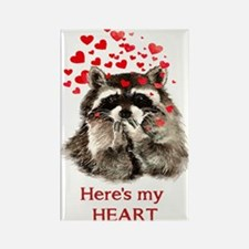 Here's My Heart Cute Raccoon Blowing Magnets