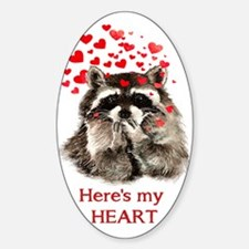 Here's My Heart Cute Raccoon Blowing Decal