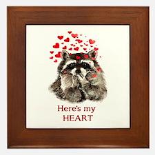 Here's My Heart Cute Raccoon Blowing Framed Ti