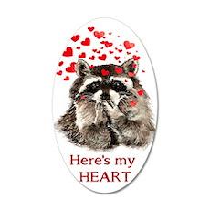 Here's My Heart Cute Raccoon Wall Decal