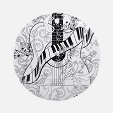 Adult Coloring Guitar Piano Music A Round Ornament