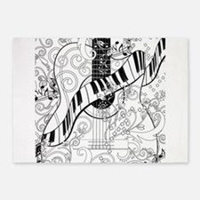 Adult Coloring Guitar Piano Music A 5'x7'Area Rug