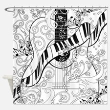 Adult Coloring Guitar Piano Music A Shower Curtain