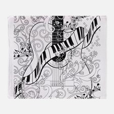 Adult Coloring Guitar Piano Music Ar Throw Blanket