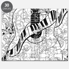 Adult Coloring Guitar Piano Music Art by Ju Puzzle