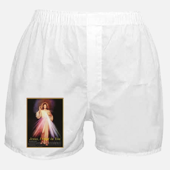 divine mercy jesus I trust in you bla Boxer Shorts