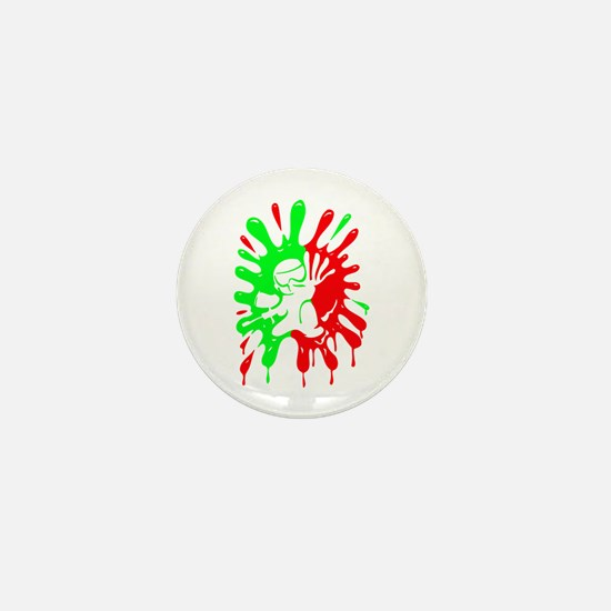 Green And Red Paintball Splatter Plus Mini Button