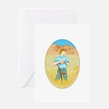 Wheat Organic Farmer Scythe Oval Drawing Greeting