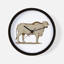 Brahman Bull Drawing Wall Clock