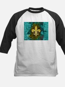 Fleur de lis gold turquoise Baseball Jersey