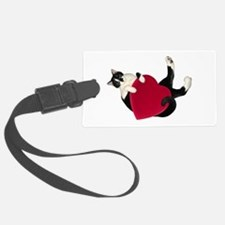 Black White Cat Heart Luggage Tag