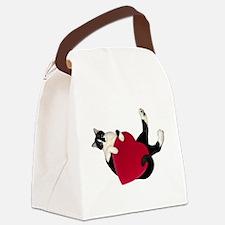 Black White Cat Heart Canvas Lunch Bag