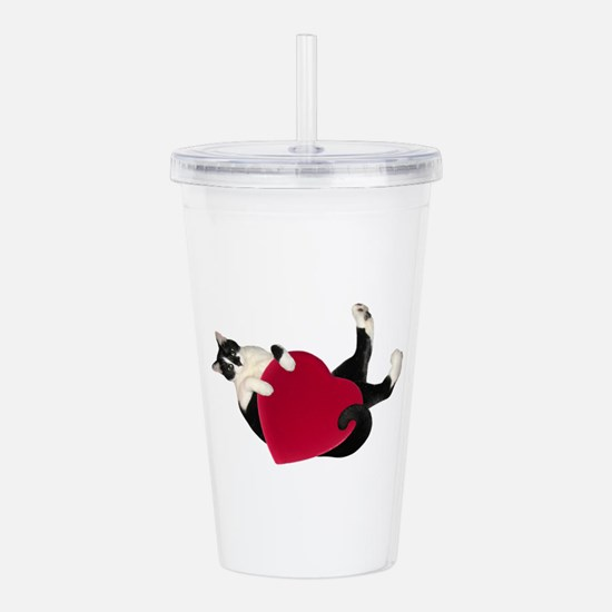 Black White Cat Heart Acrylic Double-wall Tumbler