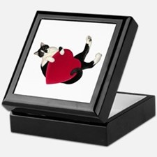Black White Cat Heart Keepsake Box