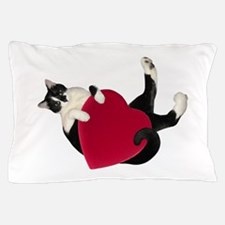 Black White Cat Heart Pillow Case