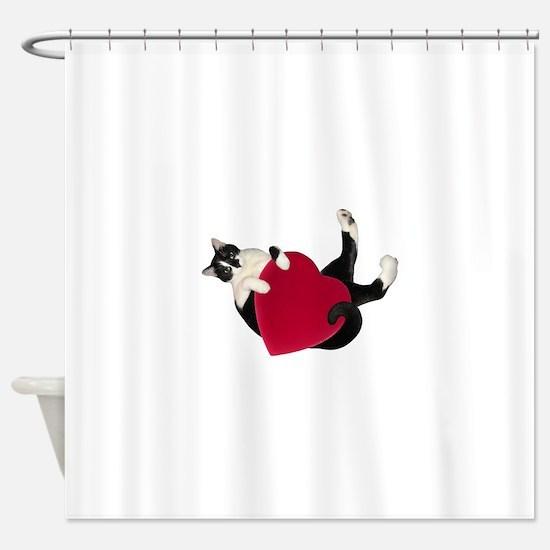 Black White Cat Heart Shower Curtain