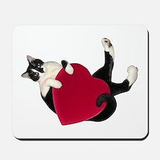 Black White Cat Heart Mousepad