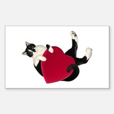 Black White Cat Heart Decal