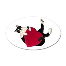 Black White Cat Heart Wall Decal