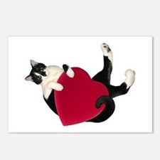 Black White Cat Heart Postcards (Package of 8)