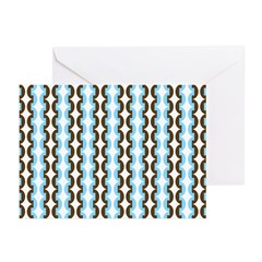 Brown and Blue Stripes Greeting Cards (Pk of 20)