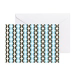 Brown and Blue Stripes Greeting Cards (Pk of 10)
