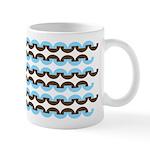 Brown and Blue Stripes Ceramic Coffee Mug