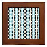 Brown and Blue Stripes Framed Tile