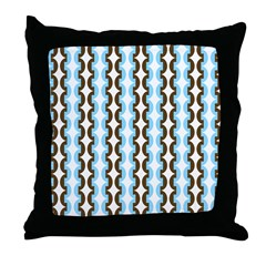 Brown and Blue Stripes Throw Pillow