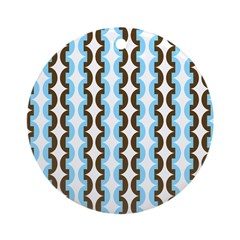 Brown and Blue Stripes Ornament (Round)