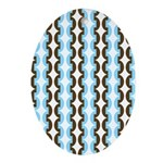 Brown and Blue Stripes Oval Ornament